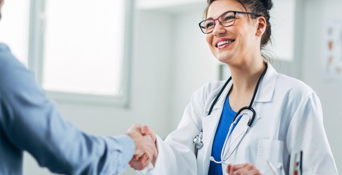 Smiling nurse at job interview