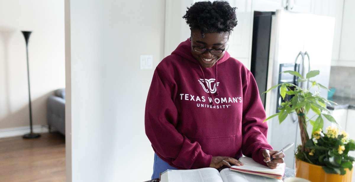 TWU Nursing Student Studying
