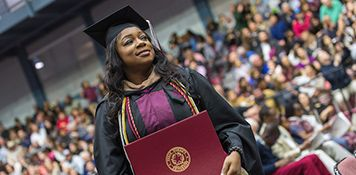 TWU nursing student on her commencement day